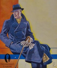 Ulters Overcoat, Grey Gloves, Cane, Checked scarf and matching lining Art Deco Fashion, Retro Fashion, Mens Fashion, Fashion Styles, Fashion Menswear, Grey Gloves, Mens Gloves, Ulster Coat, Art Deco Clothing
