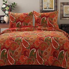 GH Bohemian Paisley Quilt Set Bedding, Boho Chic Bedroom Decor 2 Piece Printed Pattern Bedspread Coverlet, All Season Lightweight Reversible Cover Red Orange (Twin Size) Hippy Room, Hippie Room Decor, Boho Decor, Cal King Size, Queen Size, Boho Bedding, Bedspread, Paisley Quilt, Boho Chic Bedroom