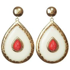 Preowned Cdg Style Unique Gold Drop Earrings With Carved Coral Nut... ($3,472) ❤ liked on Polyvore featuring jewelry, earrings, drop earrings, white, gold drop earrings, rose gold jewelry, elephant earrings, rose earrings and gold heart earrings