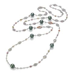 TARA Opera Pearl Necklace 09-10mm Tahitian pearl necklace with Multi-Color Sapphires on a black rhodium 18k chain. Additional Details: 42.5 inches long with lobster clasp closure. Product ID: NK1250W80910B Price: $8,997