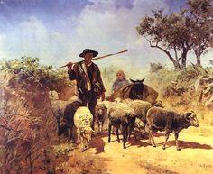 GUARDANDO O REBANHO (1893). Silva Porto (1850-1893). Óleo sobre tela (160×200 cm). Museu Nacional de Soares dos Reis, Porto.