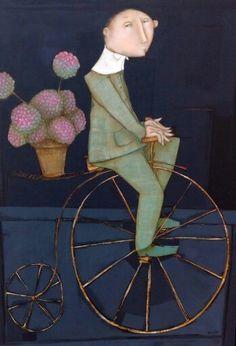 Magalie Bucher Quirky Art, Whimsical Art, Bicycle Art, Bike, Picasso Art, Lowbrow Art, Naive Art, Portrait Art, Portraits