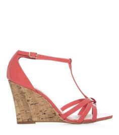 Coral Strappy T-Bar Cork Wedge Sandals