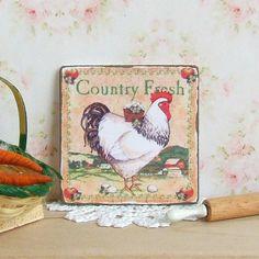 Poppenhuis miniatuur land verse teken kip door sarahslilessentials
