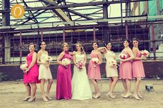 Different shades of pink dresses, pink bridesmaid dresses, vintage/ rustic inspired wedding