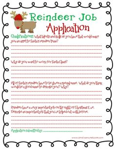 Reindeer job application fun Christmas writing activity for kids                                                                                                                                                                                 More