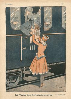 Louis Icart 1917 ''Le Train des Permissionnaires'' Soldiers, Angel, train, ww1