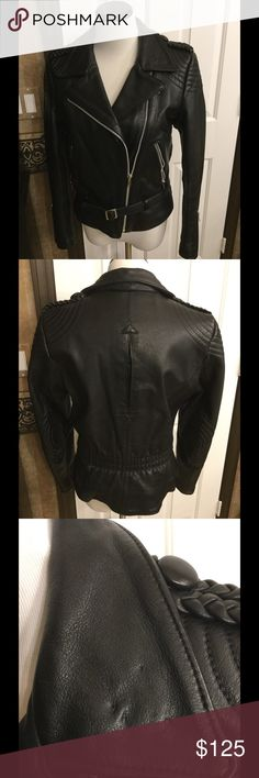 Harley Davison riding jacket Black leather tapered waist true riding jacket . Silver zippers on each arm unique leather detail on elbows and shoulder for extra protection. Has so weight to it. (38 w)  I'm a medium and it fits or size 6 . Almost perfect has not been broken in inside pockets great fitted jacket in pic above shows the three pinholes . One very slight scuff mark if  you ride this is perfect Jackets & Coats Utility Jackets