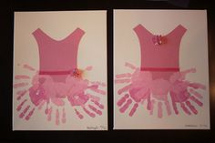 Ballerina Handprint Tutu on canvas (tutu cutout is fabric; ribbon trim; embellishment)