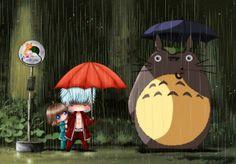 Bajo la lluvia con Totoro - Series TV | Dibujando.net