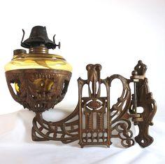 Antique Art Nouveau wall mounted oil lamp brown glass B&C Co Ca 1880 #ArtNouveau #BCCo