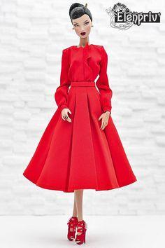 ELENPRIV red silk blouse for Fashion royalty FR2 and similar
