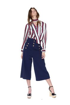 Style Mafia Fadhila Top - Flowy Red, White, and Blue Stripe Silk Top