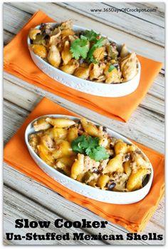 Recipe for Slow Cooker Cheesy Unstuffed Mexican Shells #easydinner #crockpotdinner #slowcookerrecipe