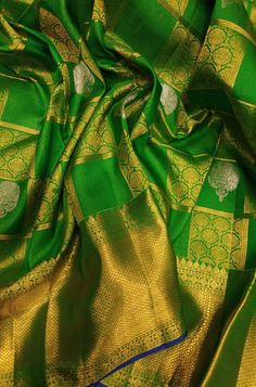 Green Checks Handloom Kanjeevaram Pure Silk Saree Source by Myluxurion
