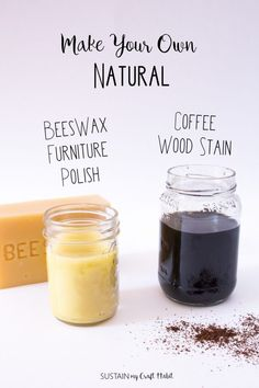 DIY Natural Coffee Wood Stain and Beeswax Furniture Polish You don't need harsh chemicals to refinish wood furniture. Check out the step-by-step instructions to make your own natural coffee… Diy Natural Furniture Polish, Beeswax Furniture Polish, Natural Wood Furniture, Beeswax Polish, Stain Wood With Coffee, Diy Wood Stain, Coffee Staining, Coffee Stained Wood, Wood Wood