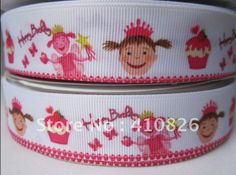 "WM ribbon wholesale 1""25mm PINKALICIOUS FAIRY CUPCAKE printed grosgrain ribbon hairbow 50yds roll free shipping-in Ribbons from Apparel & Accessories on Aliexpress.com $19"