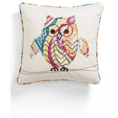 Levtex 'Magnolia Owl' Pillow (37 CAD) found on Polyvore