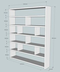 Large reclaimed wooden bookcase with vertical dividers 166 cm wide x 205 cm high x 30 cm deep Timber is cm thick Shelves, Interior, Diy Furniture, Bookshelves Diy, Bookshelves, Bookshelf Design, Wooden Bookcase, Bookcase, Home Diy