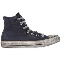 Converse Men Chuck Taylor Ltd Hi Top Canvas Sneakers featuring polyvore, men's fashion, men's shoes, men's sneakers, navy, converse mens sneakers, mens black hi top sneakers, navy blue mens shoes, mens hi top shoes and mens canvas sneakers
