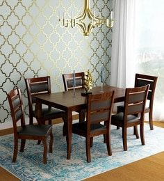 """""""Buy Delmonte Solid Wood Six Seater Dining Set with Bench in Walnut Finish by Online - Contemporary 6 Seater Dining Sets - Dining - Furniture - Pepperfry Product """" Dinning Table Wood, 4 Seater Dining Table, Dining Set With Bench, Dining Sets, Dining Chairs, Walnut Finish, Dining Furniture, Solid Wood, Contemporary"""