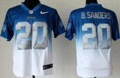 Nike Detroit Lions 20 Barry Sanders Blue White Drift Fashion II Elite NFL Jerseys