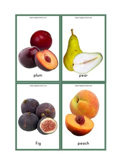 Fruits Names Flash Cards – Plum, Pear, Fig, Peach - Modern Fruits Name With Picture, Fruit Picture, Free Printable Flash Cards, Free Printables, Baby Flash Cards, Fruit Salad Making, Fruit Names, Flashcards For Kids, Fruit Packaging