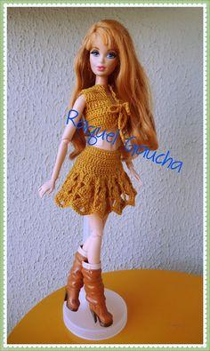 #Camila1000 #Crochet  #Midge #Doll #Muñeca #Barbie #Saia #Top rachelcrochet.wordpress.com #RaquelGaucha