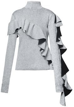 Sparkly silver turtleneck top with asymmetric ruffle details. 100% polyester Dry clean only Preorder will be shipped in ten days after the payment has been processed. Made in Georgia Model is wearing size FR34 She is 178cm, bust 78cm, waist 56cm, hips 86cm