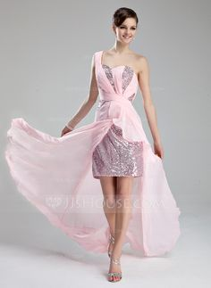 Prom Dresses - $142.99 - A-Line/Princess One-Shoulder Court Train Chiffon Sequined Prom Dress With Ruffle Beading (018019172) http://jjshouse.com/A-Line-Princess-One-Shoulder-Court-Train-Chiffon-Sequined-Prom-Dress-With-Ruffle-Beading-018019172-g19172?ver=xdegc7h0