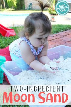 2 ingredient moon sand recipe- we have a taste safe version for babies as well. One of the most popular sensory activities on Little Learning Club Sensory Bottles For Toddlers, Outdoor Activities For Toddlers, Toddler Learning Activities, Indoor Activities, Infant Activities, Preschool Activities, Motor Activities, Learning Games, Educational Activities