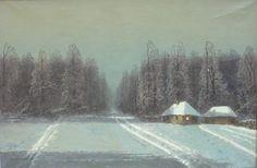 Wiktor KORECKI ,W zimowy wieczór, olej, płótno, 66 x 90 cm