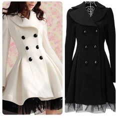 lace dress lace ruffles white dress long black cute beautiful pretty girl girly fashion buttons winter coat peacoat instagram form fitting long oat snow dressy fancy awesome winter fashion lace dress long