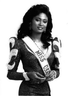 The first black Miss USA Carol_Ann-Marie_Gist .  It is not Kenya Moore as she likes to state.
