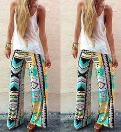 Stylish Mid-Waisted Geometric Print Loose-Fitting Exumas Pants For Women