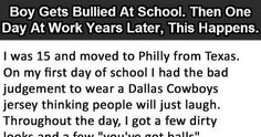 Boy Gets Bullied At School. Then One Day At Work Years Later, This Happens. First Day Of Work, First Day Of School, Dallas Cowboys Jersey, I Am The One, Work Quotes, Bullying, Funny Quotes, Shit Happens, Memes