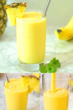 Tropical Smoothie Do you have a smoothie that you can drink every day and not get tired of it? This Tropical Smoothie is so refreshing and tasty that I am making it almost daily. Tropical Smoothie Recipes, Smoothie Drinks, Fruit Smoothies, Healthy Smoothies, Healthy Drinks, Healthy Snacks, Banana Drinks, Diet Drinks, Pinapple Smoothie Recipes