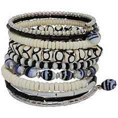 @Overstock - Add a lovely handmade touch to your wardrobe with a beaded 10-turn bracelet. Handcrafted with bone beads and accented with metal and glass beads, this piece of world jewelry presents bold patterns in shades of white, black and grey.http://www.overstock.com/Worldstock-Fair-Trade/Bead-and-Bone-Black-and-White-10-turn-Round-Bracelet-India/3471016/product.html?CID=214117 $19.95