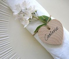 Wooden hearts for guest name places