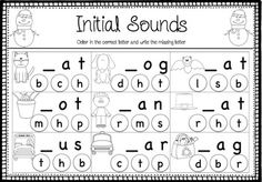 Winter CVC Freebie. Two worksheets focusing on initial and final sounds in CVC words. Great for morning work, literacy centers, homework, early finishers, struggling readers.  *************************************************************************** If you liked this why not check out my Christmas Literacy Activities Christmas Literacy