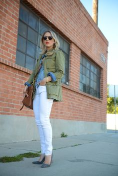 Army jacket + chambray shirt + white denim