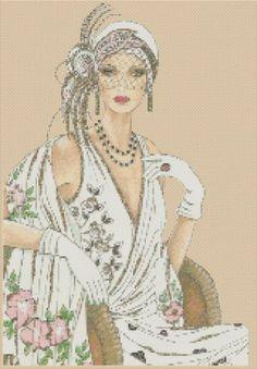 Cross Stitch Chartart Deco Lady in White Dress with Shawl No 6VB 40   eBay