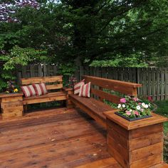 build something like these benches and planter for the perimeter of the patio