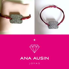 BRACELET MADE IN LEATHER GARNET WITH CENTRAL OF DIAMONDS AND TERMINALS IN SILVER