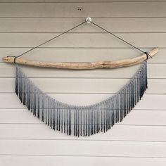 Image of Indigo Ombre Macrame Wall Hanging on Driftwood