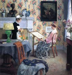 """""""Penelope"""" by Gari Melchers. 1910 oil on canvas. The model seated in the chair is the artists' wife, Corinne. In the collection of The Corcoran Museum (Now part of The National Gallery), Washington, DC. Art Du Fil, Art Nouveau, Impressionist Artists, National Gallery Of Art, Collaborative Art, American Artists, Needlework, Illustration Art, Museum"""