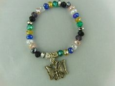 Multi Coloured Crystal Rondelle Bead Bracelet with Silver Plated Butterfly Charm £7.50