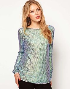 Enlarge ASOS Top With Iridescent  Sequins And Cutout V Back