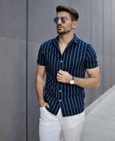 33 men's style trends you should undoubtedly try 8 Mens Casual Dress Outfits, Formal Men Outfit, Summer Outfits Men, Stylish Mens Outfits, Stylish Shirts, Outfit Jeans, Summer Men, Trendy Mens Fashion, Indian Men Fashion