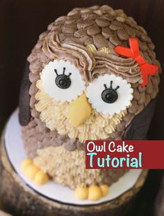 How to make an owl cake - easy 3D buttercream cake